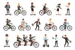 Grupo liso do vetor de trabalhadores de escritório na bicicleta diferente dos veículos, hoverboard elétrico, segway, skate Negóci ilustração royalty free