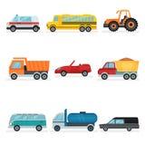Grupo liso do vetor de transporte urbano diferente Carros públicos, industriais e do serviço Automóveis dos passageiros ilustração royalty free