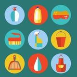Grupo liso do vetor do ícone dos produtos de limpeza Ilustração Stock