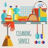 Grupo liso do vetor do ícone dos produtos de limpeza da cópia Ilustração Stock