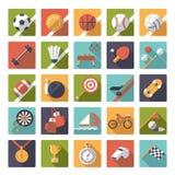 Grupo liso do vetor do projeto dos ícones dos esportes do quadrado Fotos de Stock