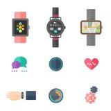 Grupo liso do vetor do relógio esperto, projeto do app do smartwatch Fotografia de Stock