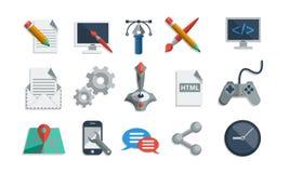 Grupo liso do vetor dos ícones Imagem de Stock Royalty Free