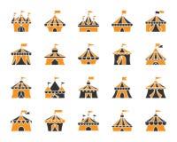 Grupo liso do vetor dos ícones da cor simples da tenda do circus ilustração do vetor