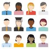 Grupo liso do vetor dos ícones dos povos Imagens de Stock Royalty Free
