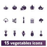 Grupo liso do vetor dos ícones dos vegetais Fotografia de Stock
