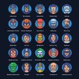 Grupo liso dos ícones dos super-herói e dos bandidos ilustração royalty free