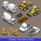 Grupo liso isométrico do ícone 3d do transporte da construção da cidade Imagem de Stock Royalty Free