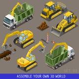 Grupo liso isométrico do ícone 3d do transporte da construção da cidade Foto de Stock