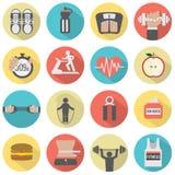 Grupo liso moderno do ícone da aptidão do projeto Fotos de Stock Royalty Free