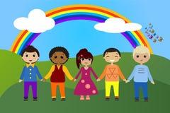 Grupo liso retangular dos avatars das profissões ilustração do vetor
