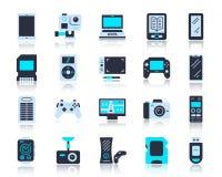 Grupo liso simples do vetor dos ícones da cor do dispositivo ilustração stock