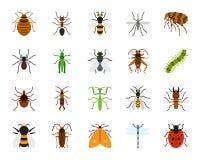 Grupo liso simples do vetor dos ícones da cor do inseto do perigo ilustração stock
