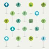 Grupo liso simplesmente minimalistic do ícone do símbolo das árvores. Fotos de Stock Royalty Free