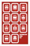 Grupo locomotivo locomotivo do ícone Fotografia de Stock Royalty Free