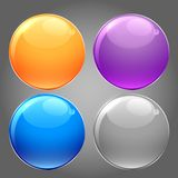 Grupo lustroso brilhante de botões circulares ilustração do vetor