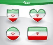 Grupo lustroso do ícone da bandeira de Irã ilustração stock