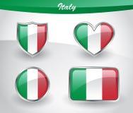 Grupo lustroso do ícone da bandeira de Itália ilustração do vetor