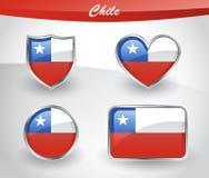 Grupo lustroso do ícone da bandeira do Chile ilustração do vetor