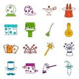 Grupo mágico da garatuja dos ícones ilustração do vetor