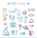 Grupo mão brilhante de ícones tirados da praia ilustração royalty free