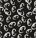 Grupo a mão livre 01 de Pen Euro Symbol Seamless Pattern & do fundo Imagem de Stock