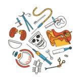 Grupo médico do ícone, ilustração do vetor do esboço, fundo branco Orelha, tesouras, olho, injeção, cérebro, crânio, osso Imagens de Stock Royalty Free