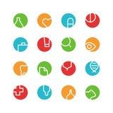 Grupo médico e laboratório colorido do ícone Fotografia de Stock Royalty Free