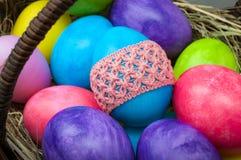 Grupo macro de ovos da páscoa fotografia de stock