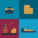 Grupo marítimo do ícone do transporte do frete ilustração stock