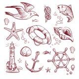 Grupo marinho do esboço Peixes do volante da âncora da estrela do mar da gaivota do farol da viagem do oceano do mar Mão náutica  ilustração do vetor