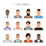 Grupo masculino do vetor dos ícones do avatar Caráteres dos povos no estilo liso Caras com estilos e nacionalidades diferentes Fotografia de Stock Royalty Free