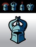 Grupo medieval do logotipo dos capacetes do guerreiro Fotos de Stock Royalty Free