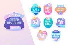 Grupo mega colorido geométrico da oferta da venda Linha projeto da oferta do preço especial de campanha de publicidade online do  ilustração do vetor