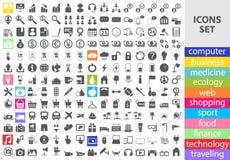 Grupo mega de ícones lisos do vetor Imagem de Stock