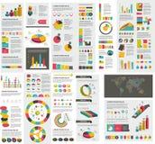 Grupo mega de cartas de elementos do infographics, gráficos Foto de Stock