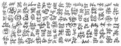 Grupo mega de rotulação escrita 100 mãos ilustração do vetor