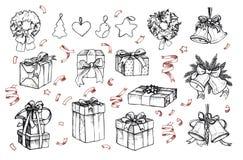 Grupo mega do vintage Ilustrações tiradas mão do vetor - Feliz Natal Imagens de Stock Royalty Free