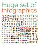 Grupo mega enorme de moldes infographic Fotos de Stock Royalty Free