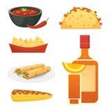 Grupo mexicano da ilustração dos pratos dos desenhos animados da culinária Foto de Stock