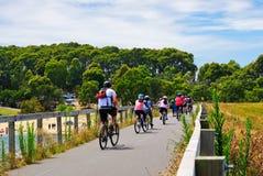 Grupo mezclado de ciclistas Imagen de archivo
