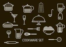 Grupo minimalistic do vetor de cookware ilustração royalty free