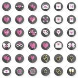 Grupo moderno do ícone do coração dos sentimentos do amor Fotos de Stock Royalty Free
