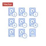 Grupo moderno do ícone do estilo das operações da movimentação de disco rígido Fotos de Stock Royalty Free