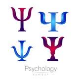 Grupo moderno do sinal do logotype de psicologia psi Estilo creativo Ícone no vetor Conceito de projeto Empresa do tipo Azul do l ilustração stock