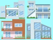 Grupo moderno do vetor das casas ilustração royalty free