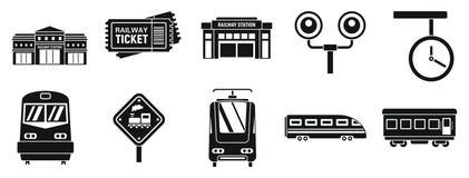 Grupo moderno dos ícones da estação de trem, estilo simples ilustração do vetor