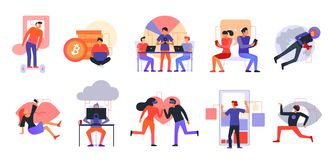 Grupo moderno dos ícones das tecnologias ilustração royalty free