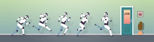 Grupo moderno dos robôs que corre ao conceito da competição da tecnologia de inteligência artificial da porta do trabalho horizon ilustração do vetor