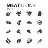 Grupo moderno simples de ícones da carne Fotografia de Stock